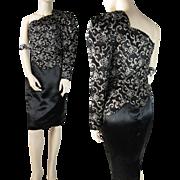 SALE Vintage 1980's Gunne Sax By Jessica McClintock One - Shoulder Black Satin Cocktail Dress