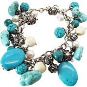 SALE Vintage Chinese Sterling Silver Dyed Turquoise Simulated Pearl And Bone Charm Bracelet