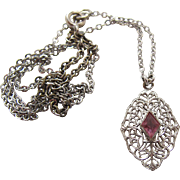 SALE Vintage Art Deco Period Sterling Silver Filigree Pendant Necklace With Paste Stone
