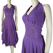 SALE Vintage 1970's Purple Cotton Halter Dress With Crocheted Bodice And Handkerchief Hemline