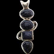 SALE Vintage Modernist Sterling Silver Blue Goldstone Pendant