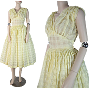 SALE Vintage 1950's Lemon Yellow Sundress / Party Dress