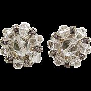 SALE Vintage Miriam Haskell Faceted Crystal And Rhinestone Screw Back Earrings