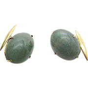 Vintage Early 20th Century Gold-Filled Aventurine Cufflinks