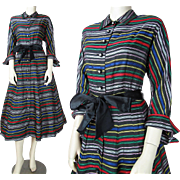 Vintage 1940's Striped Taffeta Belted Long Sleeved Collared Dress