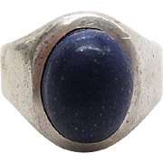 Vintage Taxco Mexican Sterling Silver Lapis Lazuli Ring Size 8 3/4