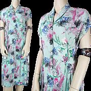 1940's Vintage Floral Printed Rayon Crepe Dress