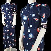1930's Vintage Floral Printed Rayon Crepe Bias Cut Gown