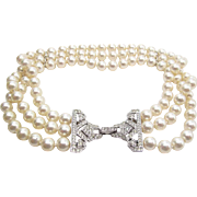 Vintage Three Strand Simulated Pearl Collar Necklace With Rhinestone Clasp