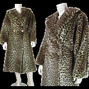 1980's Vintage Pauline Trigère Faux Leopard Fur Long Coat