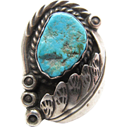 Vintage Native American Navajo 800 Silver Turquoise Ring Signed D. Secatero Size 7 1/4