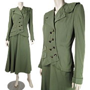 Vintage 1940's Best And Co. Military Style Virgin Wool Skirt Suit