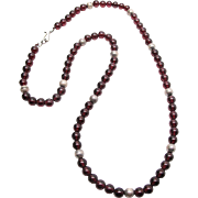 SALE Vintage Garnet And Silver Bead Necklace