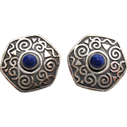 Vintage Anne Farella Sterling Silver Modernist Earrings With Blue Glass Stones