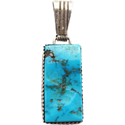 SALE Vintage Native American Sterling Silver Turquoise Pendant