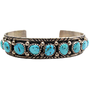 Vintage Native American Navajo Jason Livingston Sterling Silver Turquoise Cuff Bracelet With .
