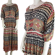SALE Vintage 1970's Rayon India Print Maxi Dress With Elbow Length Sleeves