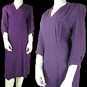 SALE Vintage 1940's Rayon Crepe Dress With Ribbon Trim Adornments