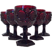 6 Cape Cod Ruby Water Goblets by Avon