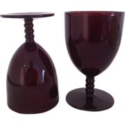 SALE Two Royal Ruby Monarch Water Goblets by Anchor Hocking
