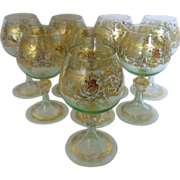 SOLD Bohemian Wine Goblets  set of Eight