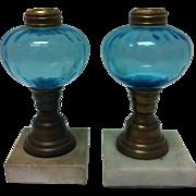 "Pair 7""  Mid 19th Century Fluid Lamps"