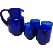 SOLD Cobalt Blue Glass Pitcher & 4 Tumblers - Red Tag Sale Item