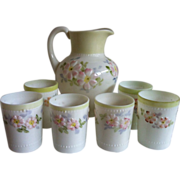 SALE EAPG Consolidated Coreopsis - Apple Blossom- Water Pitcher & 6 Tumblers