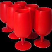 6 Carlo Moretti Red Satinato Goblets