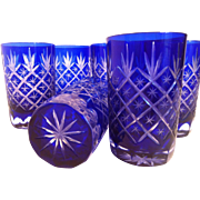 SOLD 6 Cased Cobalt to Clear Tumblers