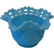 Fenton Blue Satin Ruffled Lace Edge Basket Weave Bowl