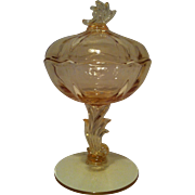 Baroque ~ Topaz Yellow Footed Jelly with Lid by Fostoria