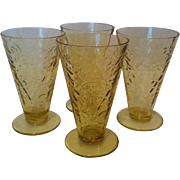 SALE 4- 10 oz Footed Cone Tumblers Madrid- Amber by Federal