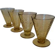 SALE 4- 5 oz Footed Cone Tumblers Madrid- Amber by Federal