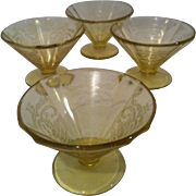 4 Federal Madrid-Amber Cone Shaped Footed Sherbets