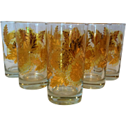 6 Gold On Clear Floral Tumblers