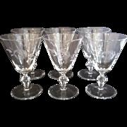 SALE 6 Arbor Rose Water Goblets by Glastonbury - Lotus
