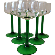 6 Emerald Crystal Wine Glasses ~ Cristal D'Arques ~ France