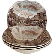 SALE 3 Square Soup Bowl Johnson Brothers Olde English Countryside