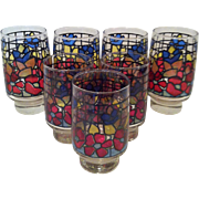 7-Libbey Floral Stained Glass Tumblers