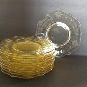 SOLD •12  Lancaster Yellow Topaz petal Luncheon Plates (LAC2)