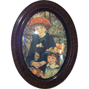 SOLD Convex Framed Vintage Reproduction Print of Renoir's Two Sisters On Terrace
