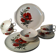 15• Hand Painted Poppy Flower & leaf Pottery Set