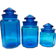 SALE 3 Blue Canister Jars with Ground Stoppers