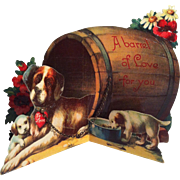 Large Fold Out St. Bernard Barrel Valentine ~ real chain