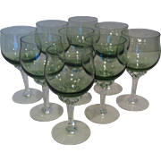 SALE 9 Sasaki Coronation Light Green Wine Glasses