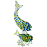 Large Italian Murano Glass Hand Blown Colored Fish Statue 20th century