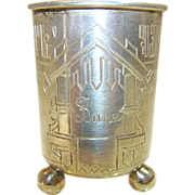 Antique Russian Silver Vodka Cup/Beaker Hand Engraved, Oleks 1890