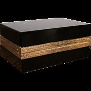 French Black Opaline Glass Rectangular Hinged Box