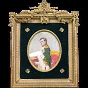 Antique Empire Style Gilt Bronze Frame Napoleon I Painted Plaque circa 1880
